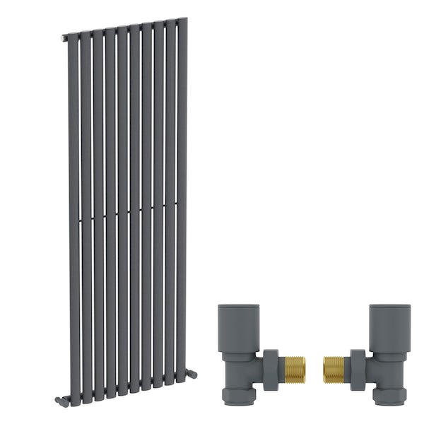 Mode Tate anthracite grey single vertical radiator 1600 x 600 with angled valves