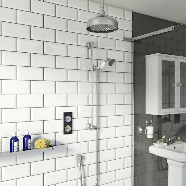 SmarTap black smart shower system with traditional slider rail and ceiling shower set