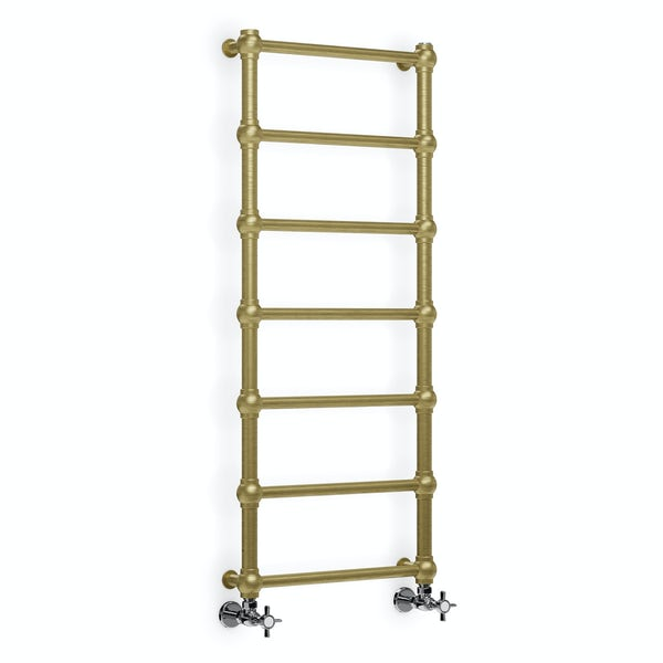 Terma Retro brushed brass designer towel rail