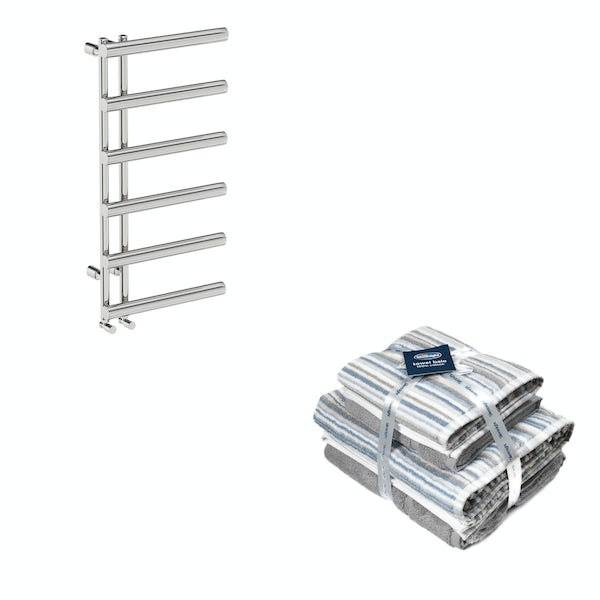 Mode Hardy heated towel rail 1000x500 with Silentnight Zero twist grey 4 piece towel bale