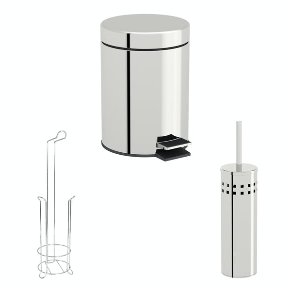 Accents Chrome 3 piece small wire toilet roll holder bathroom accessory set