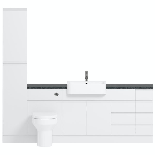 Reeves Wharfe white straight large drawer fitted furniture pack with black worktop