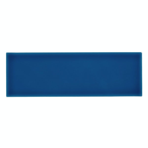 Zenith blue flat gloss wall tile 100mm x 300mm