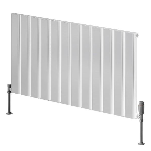 Reina Vicari white single horizontal aluminium designer radiator