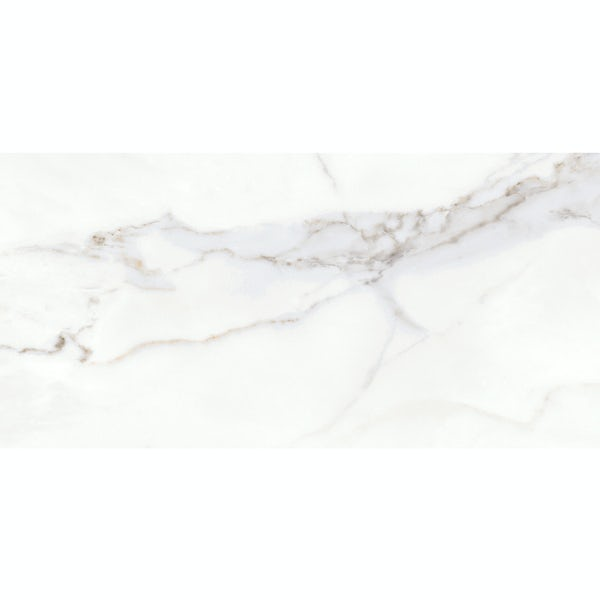 Storm white marble effect matt wall and floor tile 300mm x 600mm