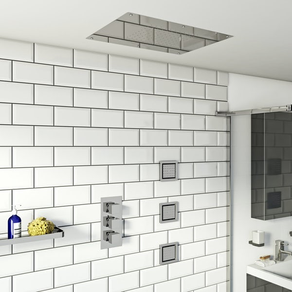 Mode Ando thermostatic mixer shower with recessed shower head and 3 body jets