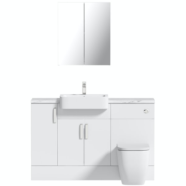 Mode Nouvel gloss white small fitted furniture & mirror combination with white marble worktop