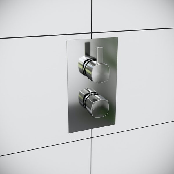 Mode Burton soft square twin thermostatic shower valve with diverter