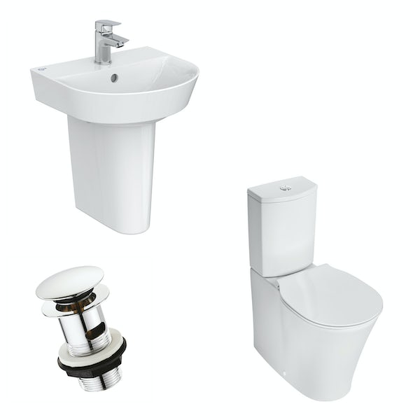 Ideal Standard Concept Air Arc toilet and semi pedestal suite 400mm with free waste