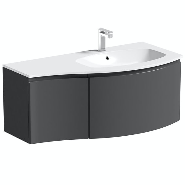 Mode Harrison slate gloss grey right handed wall hung vanity unit and basin 1000mm