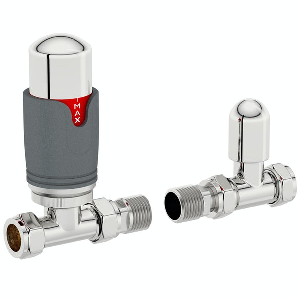 The Heating Co. Thermostatic anthracite grey straight radiator valves with lockshield