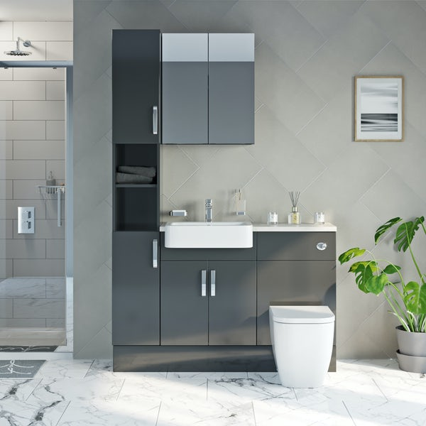 Mode Nouvel gloss grey tall fitted furniture & mirror combination with beige worktop