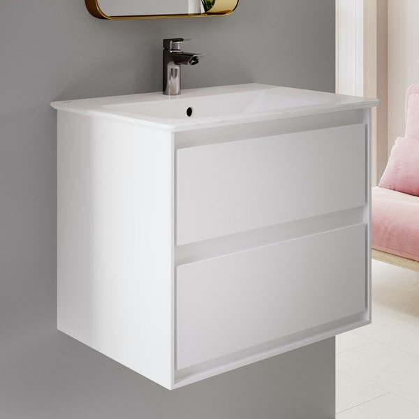 Ideal Standard Concept Air complete white furniture and left hand shower bath suite 1700 x 800