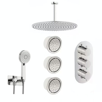 Mode Spa complete round thermostatic triple shower valve with diverter and ceiling shower set