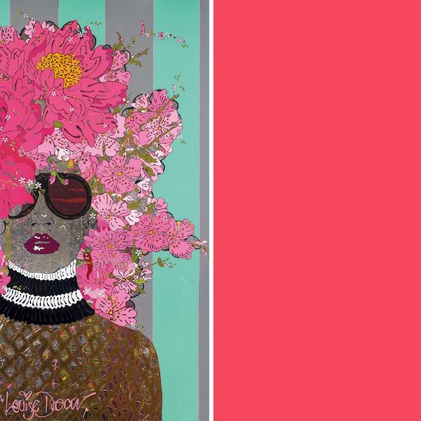 Louise Dear Kiss Kiss Bam Bam Hot Pink acrylic shower wall panel pack with rectangular enclosure