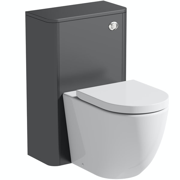Mode Harrison slate gloss grey back to wall unit and rimless toilet with soft close seat