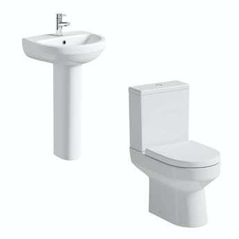Orchard Wharfe cloakroom suite with full pedestal basin 500mm