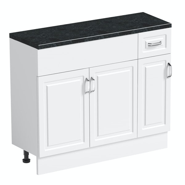 Orchard Florence white 650mm, small storage unit & plinth with black top