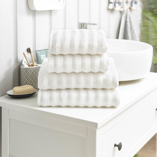 Deyongs Richmond 550gsm zerotwist ribbed 4 piece towel bale white