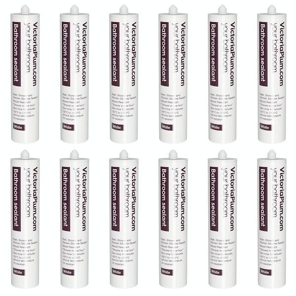 Pack of 12 bathroom sealant - white
