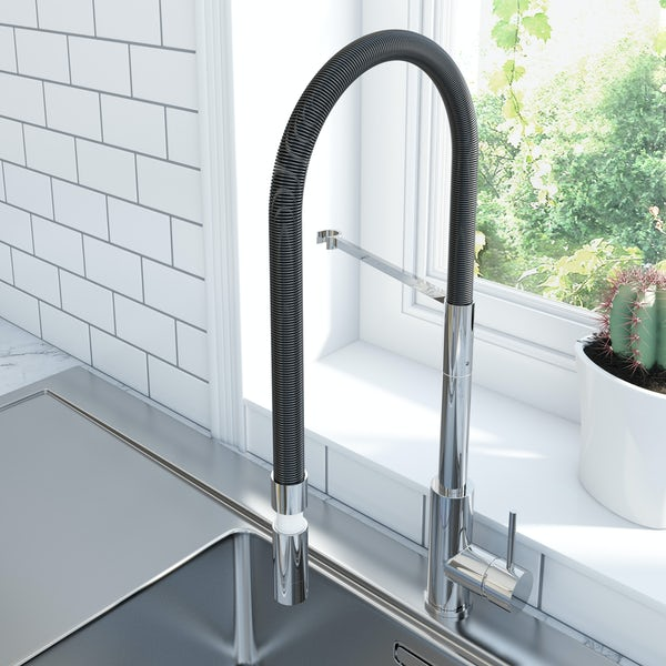 Schon pull down kitchen mixer tap with black hose