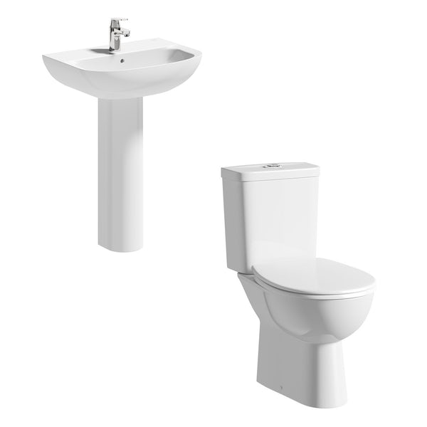 Grohe Bau rimless cloakroom suite with full pedestal basin 600mm
