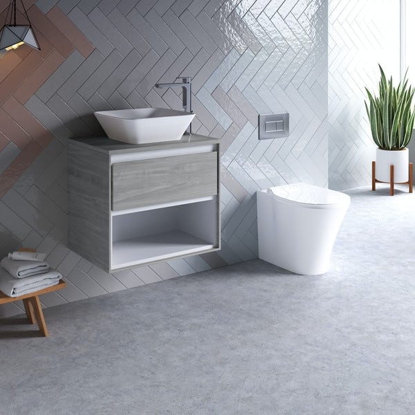 Ideal Standard Concept Air wood light grey countertop vanity unit with back to wall toilet