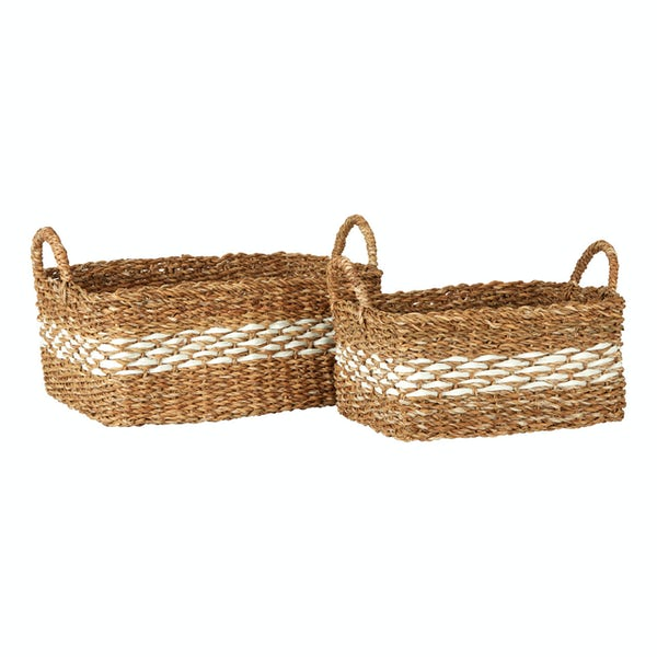 Rectangular natural and white set of 2 seagrass baskets
