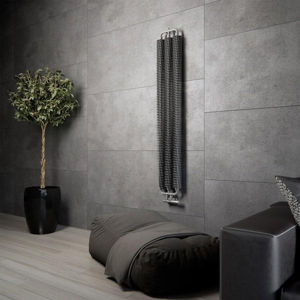 Terma Ribbon V metallic grey designer radiator 1720 x 290