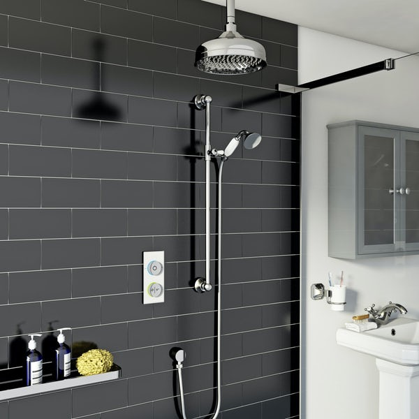 SmarTap white smart shower system with traditional slider rail and ceiling shower set