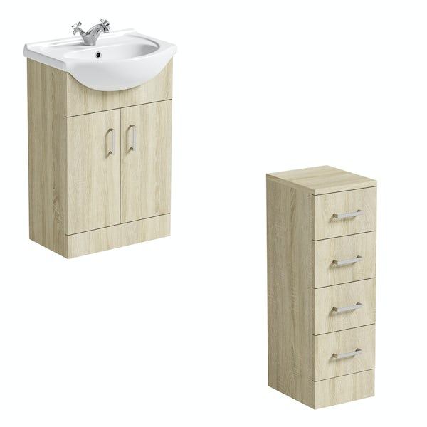 Orchard Eden oak vanity unit and ceramic basin 550mm with multi-drawer storage unit
