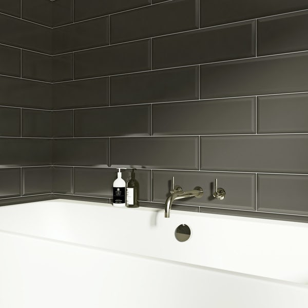 V&A Maxi Metro webb grey gloss tile 148mm x 498mm