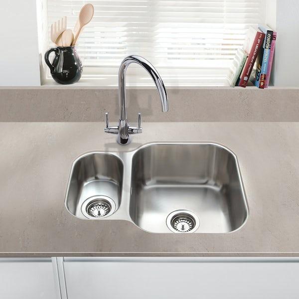 Schon Rydal universal classic undermount 1.5 bowl stainless steel kitchen sink with waste