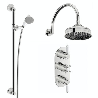 The Bath Co. Dulwich concealed thermostatic mixer shower with wall arm and slider rail