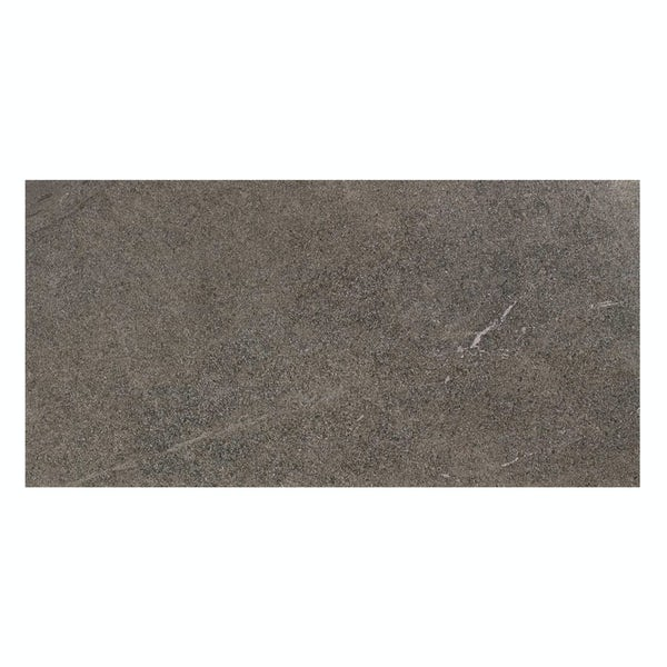 Alden lux coal stone effect gloss wall and floor tile 300mm x 600mm
