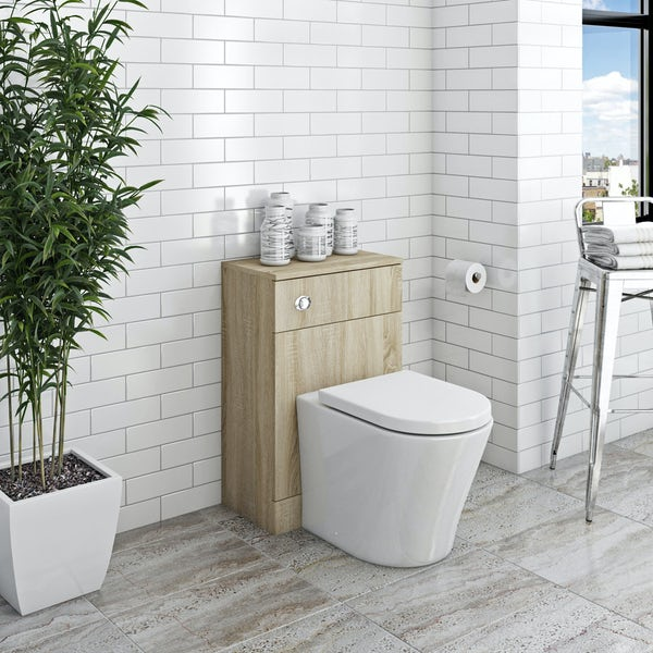Orchard Wye oak back to wall toilet unit with contemporary toilet and seat