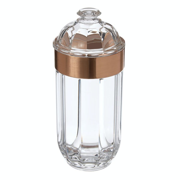 Rose gold large acrylic storage jar