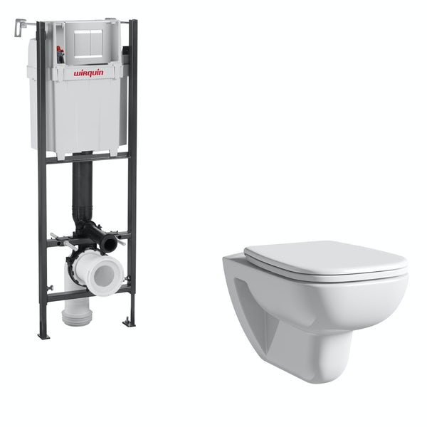 Duravit D-Code rimless wall hung toilet with soft close seat, wall mounting frame with push plate cistern