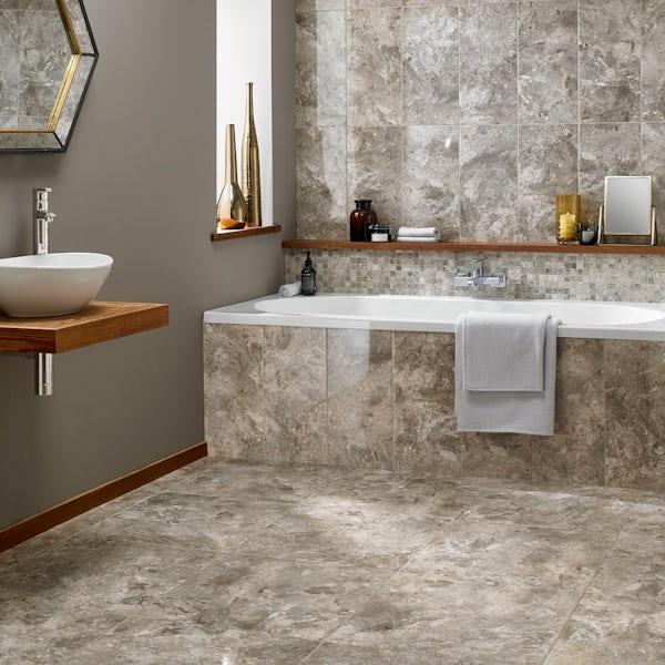 British Ceramic Tile Flint HD beige gloss floor tile 498mm x 498mm