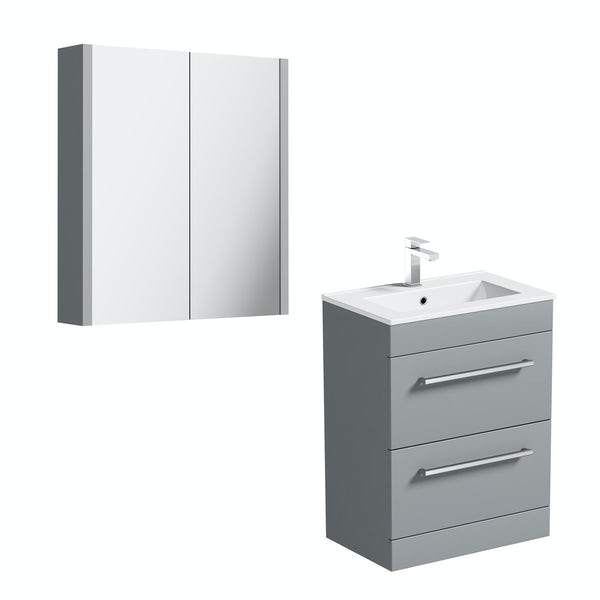 Orchard Derwent stone grey vanity drawer unit 600mm and mirror
