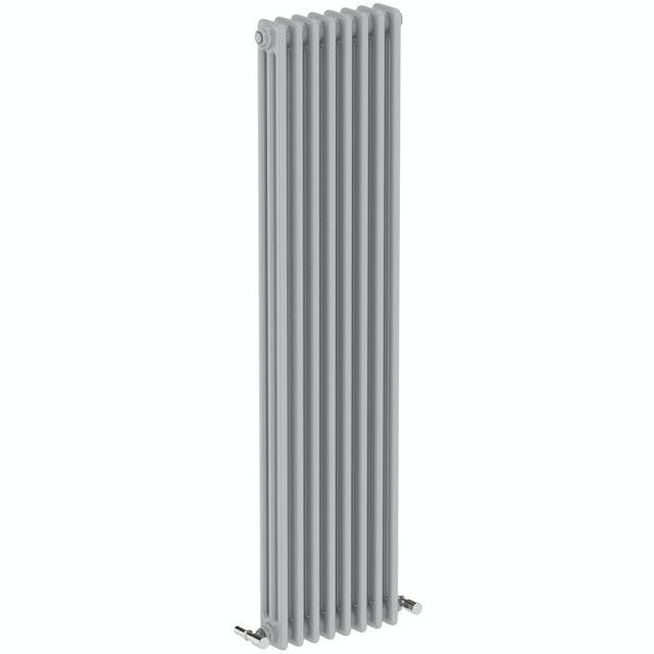 The Bath Co. Dulwich stone grey vertical double column radiator 1500 x 380