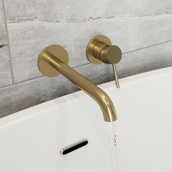 Mode Spencer round brushed brass wall mounted bath mixer tap