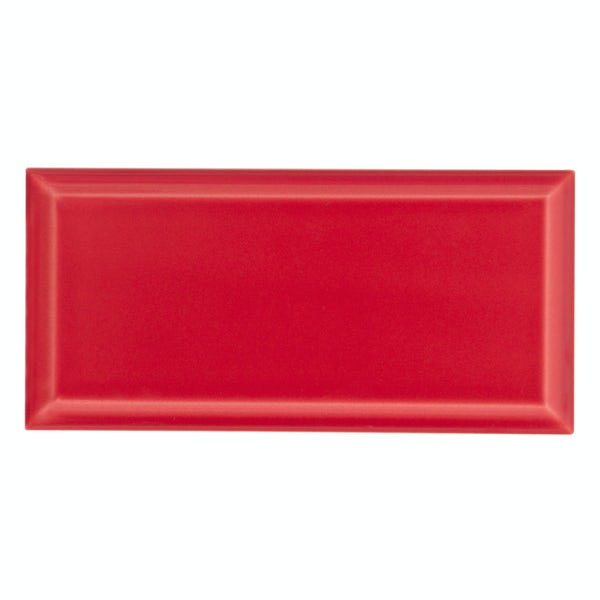 Deep Metro red bevelled gloss wall tile 100mm x 200mm
