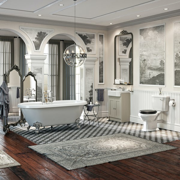 he Bath Co. Dulwich complete bathroom suite with freestanding shower bath, shower and taps