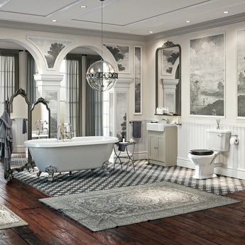The Bath Co. Dulwich complete freestanding bath and ivory furniture suite with black seat