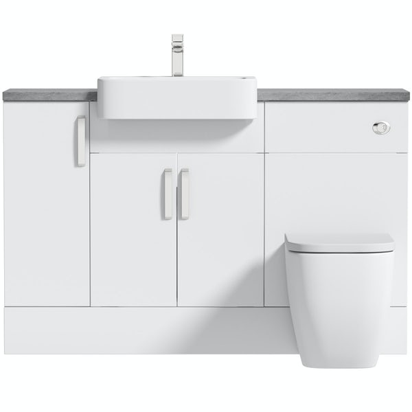 Mode Nouvel gloss white small fitted furniture combination with pebble grey worktop