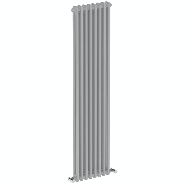 The Bath Co. Dulwich stone grey vertical double column radiator 1500 x 380
