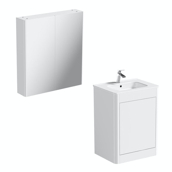 Carter Ice White 600 vanity unit and mirror offer