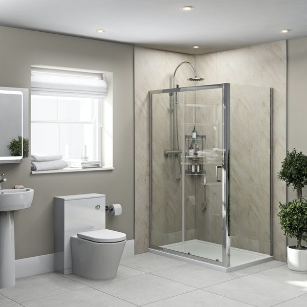 Orchard Pergamom Marble shower wall panel corner installation pack 1000 x 1000
