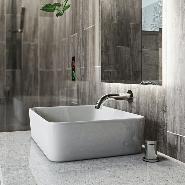 Mode Touch digital thermostatic wall mounted basin mixer tap with deck controller